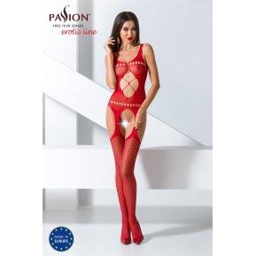 Бодистокинг Passion BS057 Red, комбинезон, имитация чулок и пояса