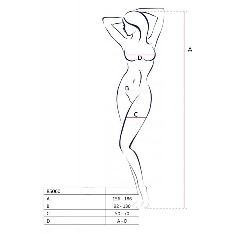 Бодистокинг Passion BS060 White, комбинезон, имитация трусиков и гольфиков