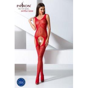 Бодистокинг Passion BS061 Red, комбинезон, имитация чулок
