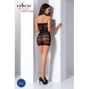Бодистокинг Passion BS063 Black, платье-сетка халтер