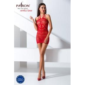 Бодистокинг Passion BS063 Red, платье-сетка халтер