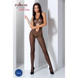 Бодистокинг Passion BS065 Black, комбинезон, крупная сетка