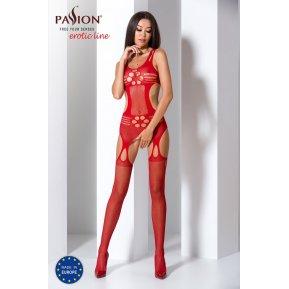 Бодистокинг Passion BS066 Red, комбинезон, имитация чулок и пояса