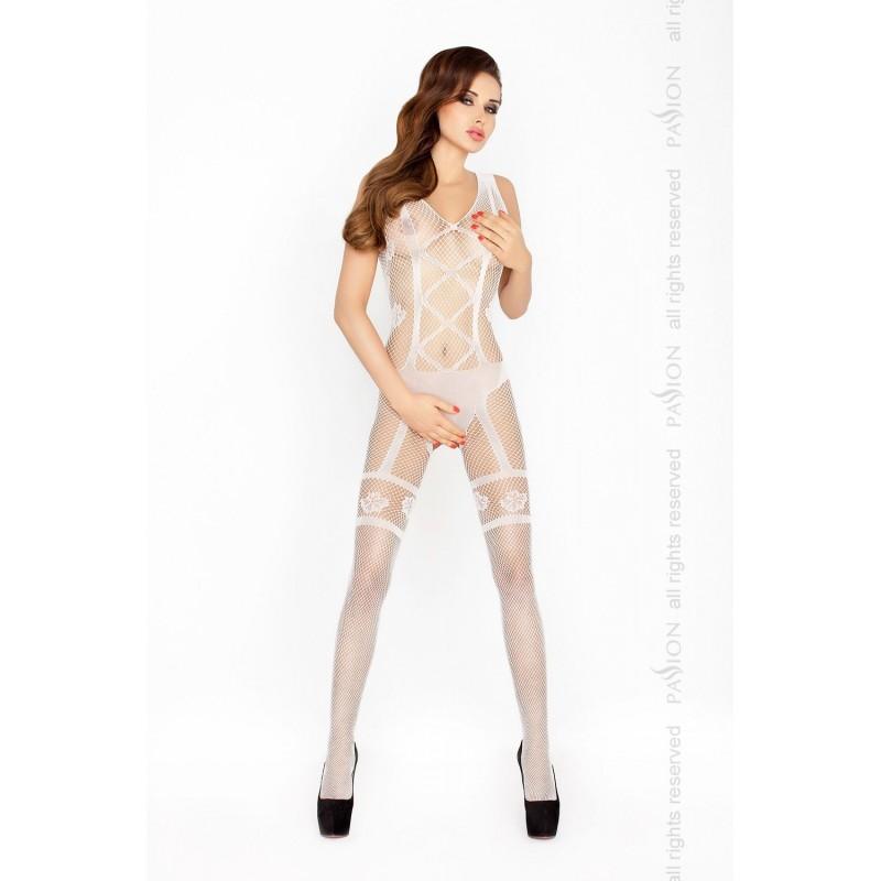 Бодистокинг Passion BS018 White, комбинезон, имитация чулок и пояса