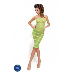 Бодистокинг Passion BS033 Green, платье-сетка на бретелях, прозрачное