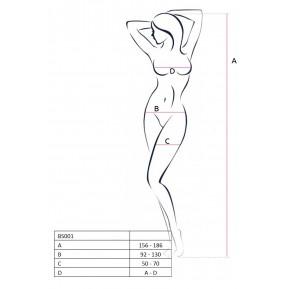 Бодистокинг Passion BS012 Black, комбинезон, имитация чулок и пояса
