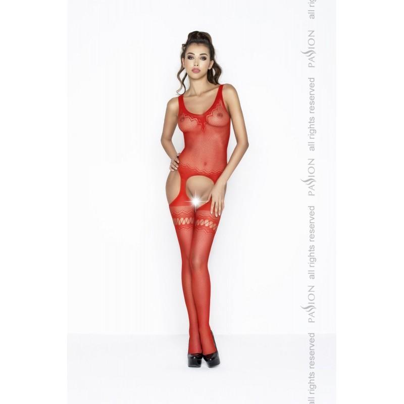 Бодистокинг Passion BS038 Red, комбинезон, имитация чулок и пояса