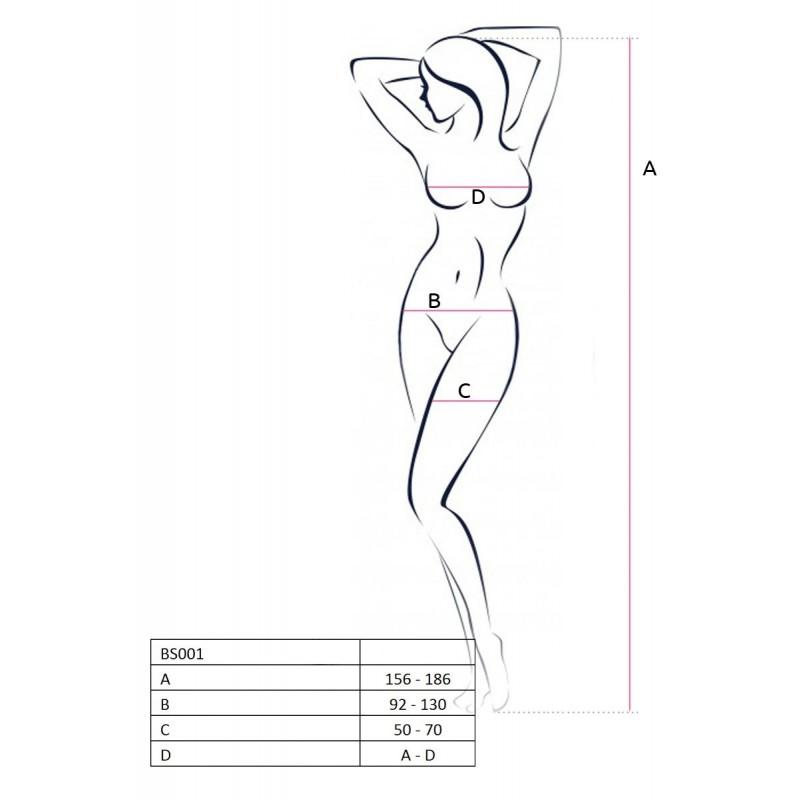Бодистокинг Passion BS028 Black, комбинезон, мелкая сеточка с цветочным рисунком на ногах