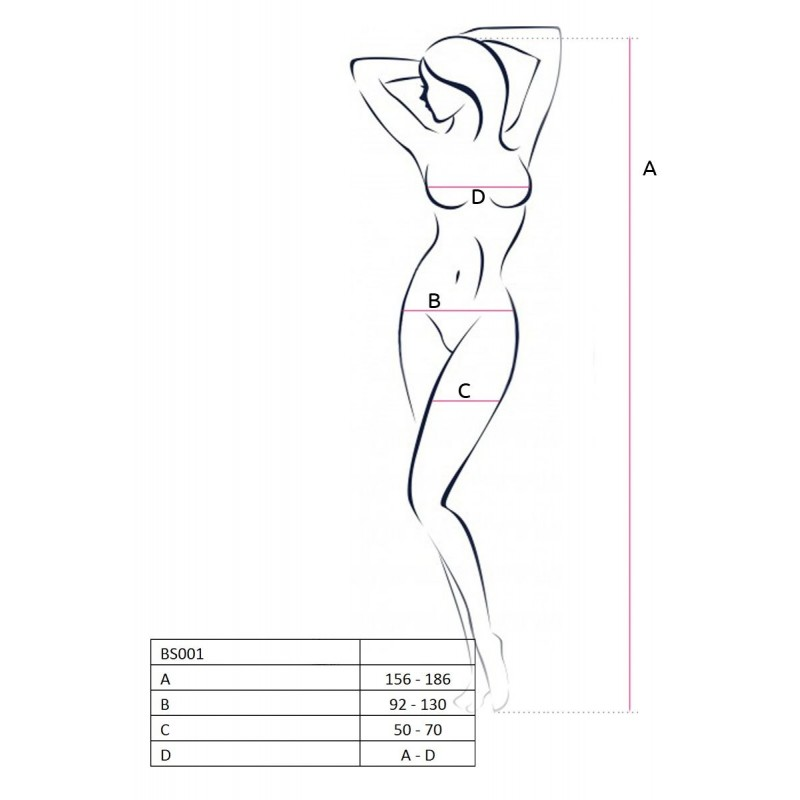 Бодистокинг Passion BS015 Black, комбинезон, имитация чулок и пояса