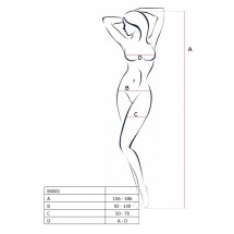 Бодистокинг Passion BS014 White, комбинезон, крупная сетка