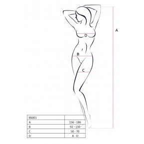 Бодистокинг Passion BS017 Black, комбинезон, имитация чулок и пояса