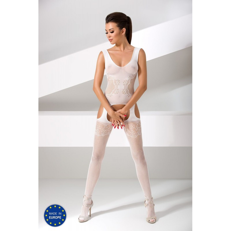 Бодистокинг Passion BS046 White, комбинезон с имитацией чулок