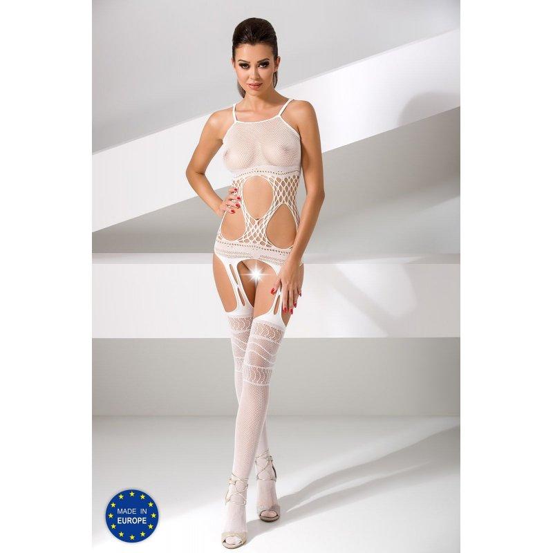 Бодистокинг Passion BS047 White, комбинезон, имитация топа, чулок и пояса