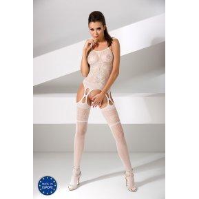 Бодистокинг Passion BS050 White, комбинезон, имитация чулок и пояса