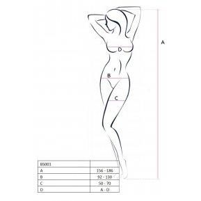 Бодистокинг Passion BS053 White, комбинезон, имитация чулок и пояса