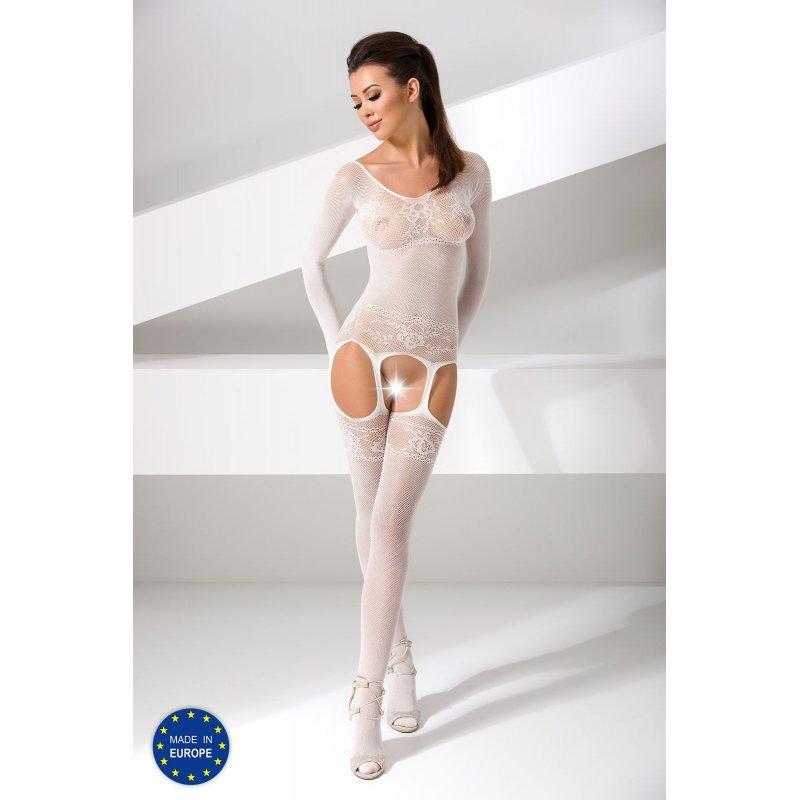 Бодистокинг Passion BS055 White, комбинезон, имитация чулок и пояса, длинный рукав, закрытое плечо
