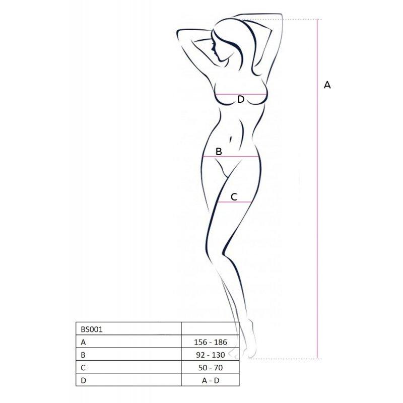 Бодистокинг Passion BS034 White, комбинезон, имитация боди и чулок