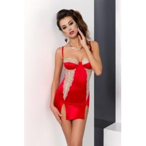 Сорочка приталенная с чашечками LORAINE CHEMISE Red XXL/XXXL - Passion Exclusive, трусики