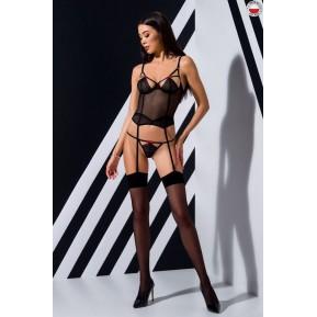 Эротический корсет с пажами PERDITA CORSET Black L/XL - Passion Exclusive, стрэпы,трусики, укороченный