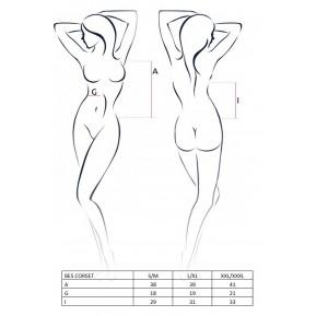 Эротический корсет под латекс с пажами BES CORSET White L/XL - Passion Exclusive, стринги, шнуровка