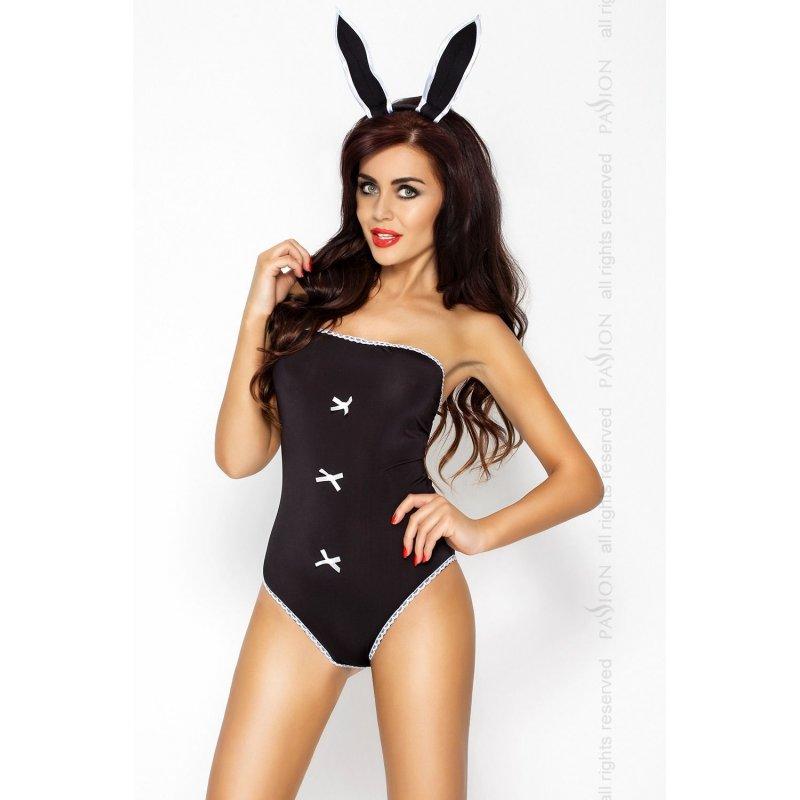 Эротический костюм зайки MAGNETICA SET Black L/XL - Passion, ушки и боди
