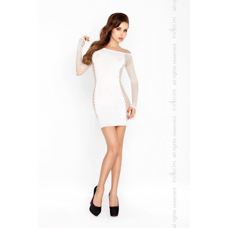 Бодистокинг Passion BS025 White, платье-сетка, спущенное плечо, длинный рукав