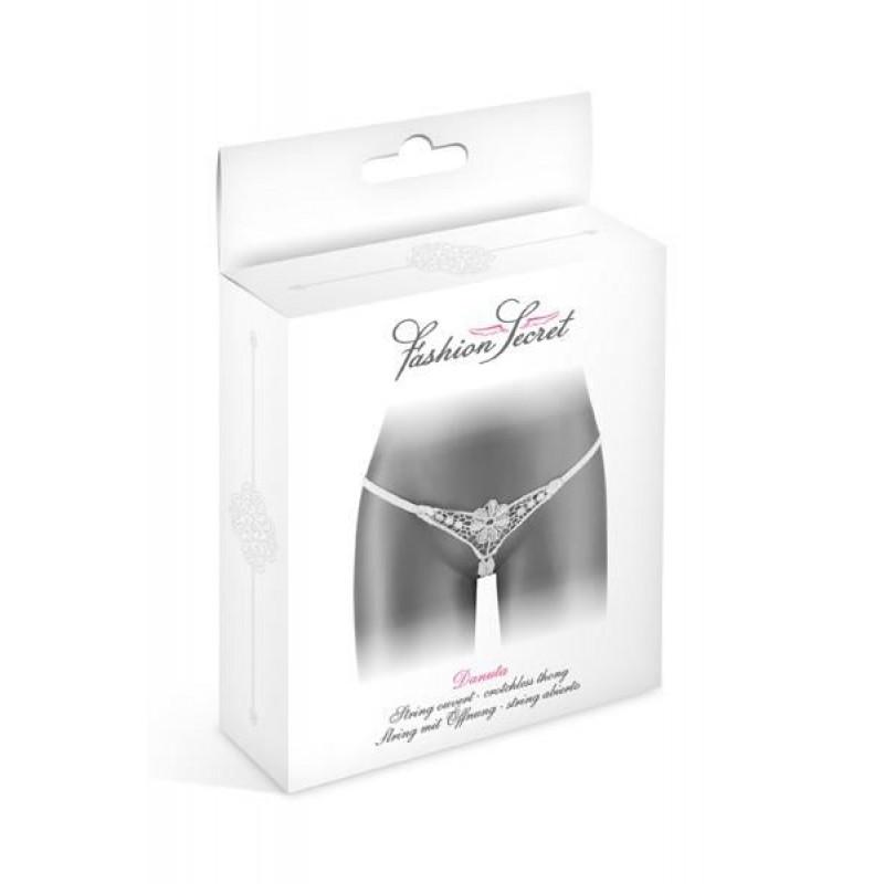 Эротические женские трусики-стринги с доступом Fashion Secret DANUTA White
