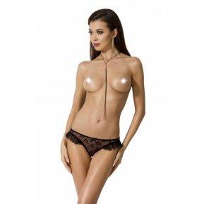 Эротические женские трусики с оборками DONIA THONG Black S/M - Passion Exclusive
