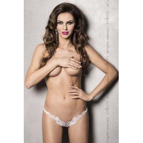 Эротические женские кружевные трусики ATHENA THONG White L/XL - Passion Exclusive