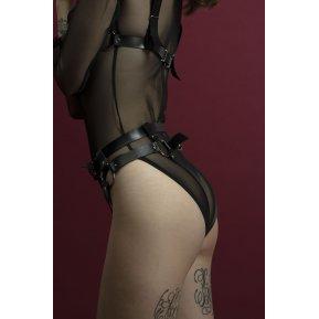 Гартеры Feral Feelings - Belt Briefs черные, трусики, натуральная кожа