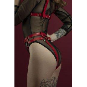 Гартеры Feral Feelings - Belt Briefs красные, трусики, натуральная кожа