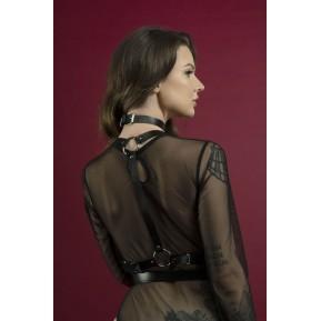Портупея на тело Feral Feelings - Harness, натуральная кожа, цвет черный