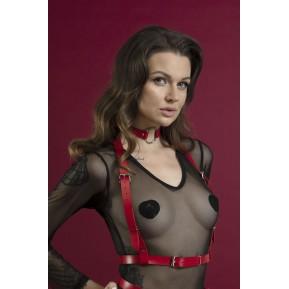 Портупея на грудь Feral Feelings - Harness Top, натуральная кожа, цвет красный