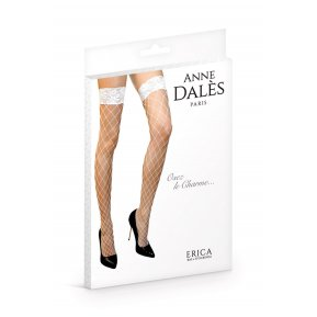 Чулки в крупную сетку Anne De Ales ERICA T4 White