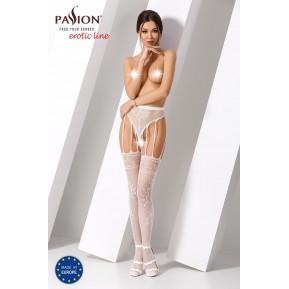 Эротические колготки-бодистокинг Passion S016 White, имитация ажурных с доступом трусиков и чулок