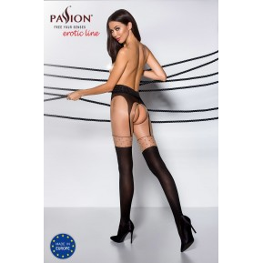 Эротические колготки TIOPEN 003 nero 3/4 (20/40 den) - Passion, имитация чулок и пояса