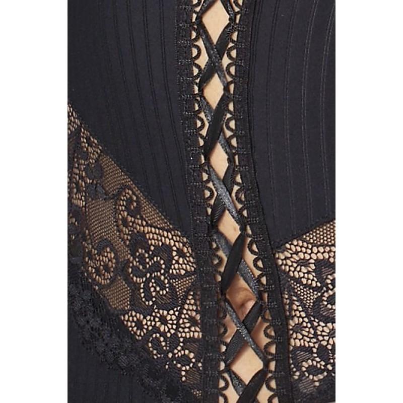 Корсет с пажами ZOJA CORSET Black 6XL/7XL - Passion, трусики, шнуровка
