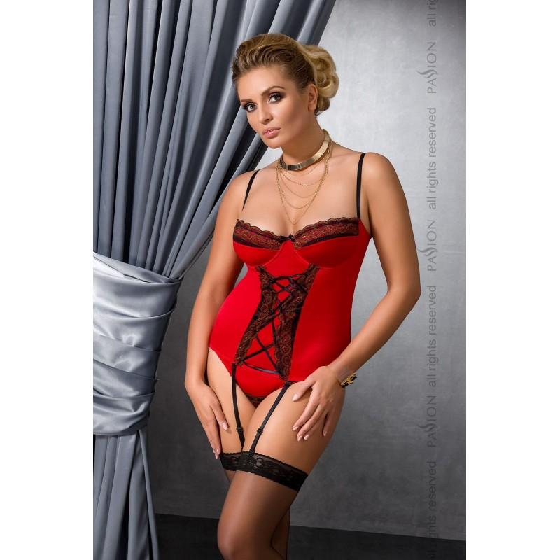 Корсет с пажами EVANE CORSET Red 6XL/7XL - Passion, шнуровка, трусики