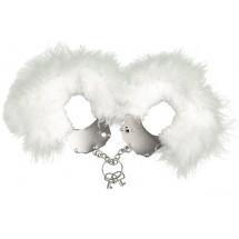 Наручники металлические Adrien Lastic Handcuffs White с белой пушистой...