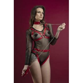Поводок Feral Feelings - Chain Leash красный, металлическая цепь с кожаной петлей и карабином