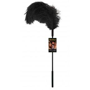 Щекоталка с пером страуса Sportsheets Ostrich Tickler Черная, для изысканных ласк