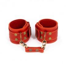 Премиум наручники LOVECRAFT красные, натуральная кожа, в подарочной уп...