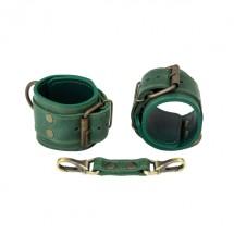 Премиум наручники LOVECRAFT зеленые, натуральная кожа, в подарочной уп...