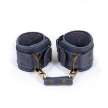 Премиум наручники LOVECRAFT голубые, натуральная кожа, в подарочной уп...