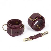 Премиум наручники LOVECRAFT фиолетовые, натуральная кожа, в подарочной...