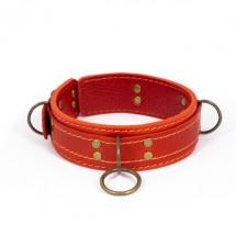 Премиум ошейник LOVECRAFT размер S красный, натуральная кожа, в подаро...