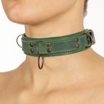 Премиум ошейник LOVECRAFT размер S зеленый, натуральная кожа, в подаро...