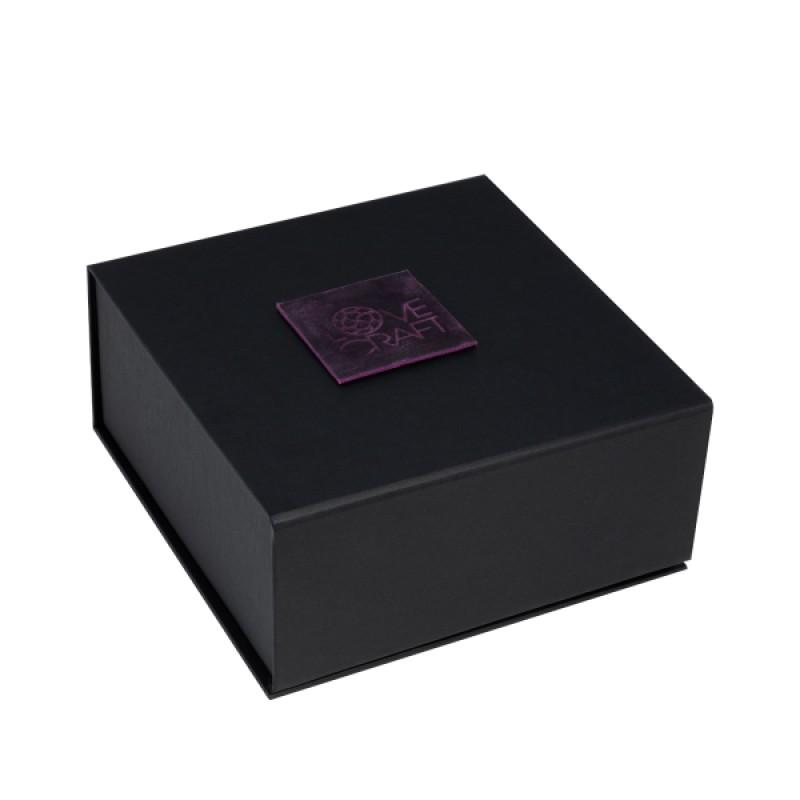 Премиум ошейник LOVECRAFT размер S фиолетовый, натуральная кожа, в подарочной упаковке