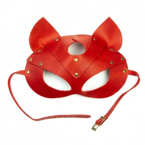 Премиум маска кошечки LOVECRAFT, натуральная кожа, красная, подарочная упаковка
