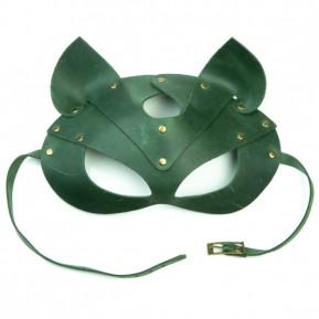 Премиум маска кошечки LOVECRAFT, натуральная кожа, зеленая, подарочная упаковка